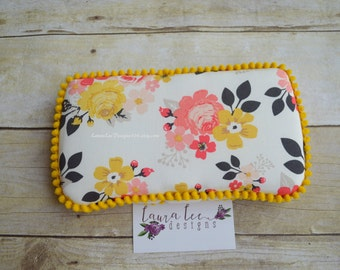 READY TO SHIP, Pink and Mustard Yellow Flowers Travel Baby Wipe Case, Personalized Baby Shower Gift, Diaper Bag Wipe Holder, Wipe Clutch