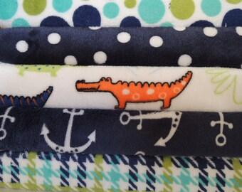 Rag Quilt Kit, Minky  Fabrics, Gator, Dots, Easy to Make, Bin F