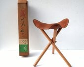 Vintage Paksaddle Seat / TANDY Leather Company / Portable Leather and Oak Stool / 3 Legged Stool / Collapsible Stool / Camping Travel Stool