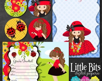 Ladybug - Printable Party Invitation, Thank You, Cupcake Topper Sheets - Instant Download