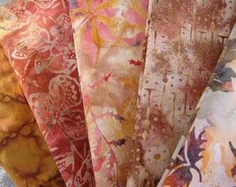 Raspberry Carmel Batik Fabric Bundle in Fat Quarters or Half Yard Cuts