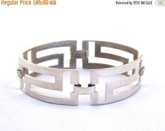 SPRING SALE Vintage 50s 60s Mid Century Modernist Abstract Mexican Sterling Silver Link Bracelet