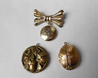 Three Different Lovely Vintage Lockets.