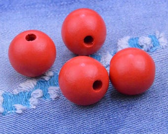 50 beads, wood beads, Red Round Wooden Beads, wood ball bead, round wood bead supply, wholesale beads 25mm