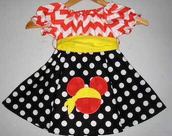 Minnie Mouse Diney  Pirate DRESS red black  twirl dress yellow sash  Machine Appliqued  dress(available in sizes  12 months ,2t,3t,4t,5t,6,