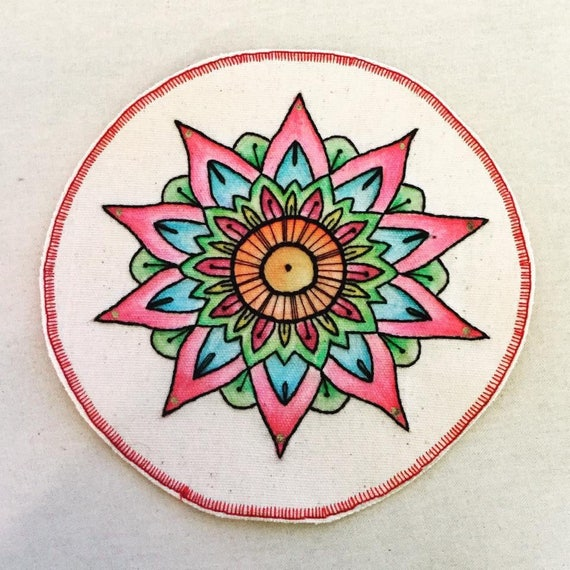 Big Mandala Hand Embroidered Sew-On Patch