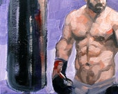 The Boxer Bears Brand-New Bag, oil on canvas panel 12x12 inches by Kenney Mencher