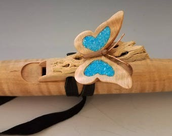 Native American Style Flute, Curly Maple & Turquoise