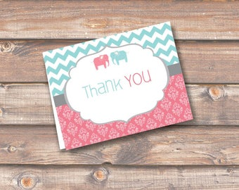 Cute Elephant Twins Thank You Stationery Chevron Stripes Boy Girl Twins Folded Thank You Note - Fits A2 size envelope - INSTANT DOWNLOAD