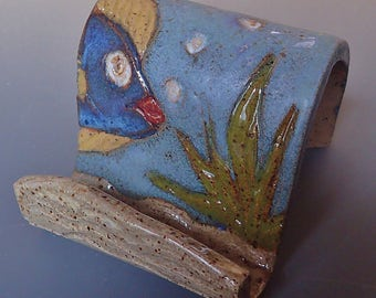 HANDMADE Stoneware Clay Business Card Holder Phone Display Holder Colorful TROPICAL Fish
