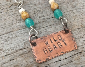 She Has a Wild Heart...Wild Heart Copper and Silver Beaded Necklace