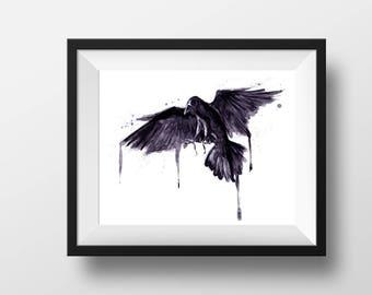 The Raven - Print - digital watercolor painting