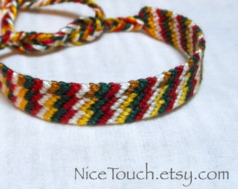 SUMMER SALE!!! Free Shipping or Save 20% ~ Christmas Memories variegated knotted friendship bracelet ~ Ready to Ship