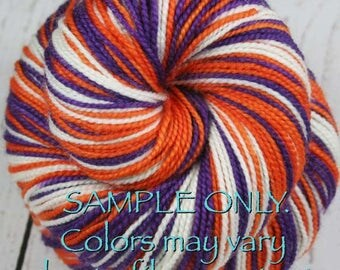 "Dyed to Order: Self-striping Sock Yarn - ""PURPLE-ORANGE-WHITE"" - Sports inspired - Hand dyed - Sports Team / School colors yarn- S. Carolina"