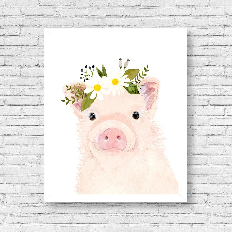 watercolor baby pig nursery art animal paintings farm. Black Bedroom Furniture Sets. Home Design Ideas