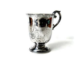 Vintage Silver Plated Baby Cup with Handle and Initials - Circa 1910s- Victorian Baby Cup - Antique Christening Gift