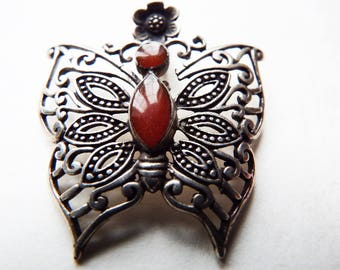 Vintage Silver and Amber Butterfly Pendant -  Filigree Silver - Butterfly Necklace