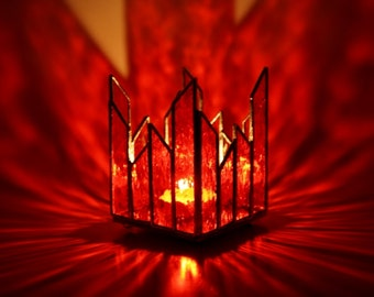 Stained Glass Candle Holder Red Tealight Holder
