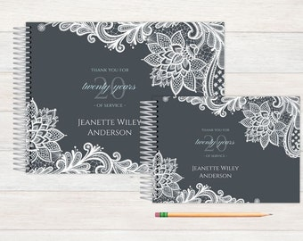 Retirement Guest Book, Retirement Guestbook, Retirement, Custom GuestBook, Personalized GuestBook, Retirment Registry Book, grey lace