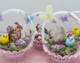 Vintage Style Easter Candy Nut Cup Feather Tree Ornaments