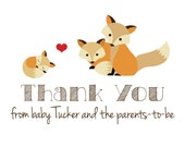 RESERVED for Alyson --  custom baby fox thank you cards -- set of 30