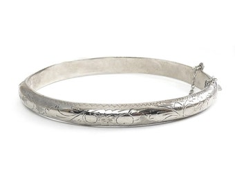 Sterling Silver Engraved Scrolls & Zigzags Hinged Bangle Bracelet