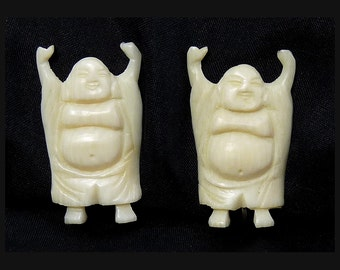 Vintage Carved Bone Hotei Smiling Buddha Earrings - Clip on Backs