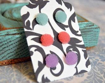 Mum Flower Earrings Set - Aqua Blue, Sherbet Pink, Wisteria Purple - Small Chrysanthemum Earring Studs