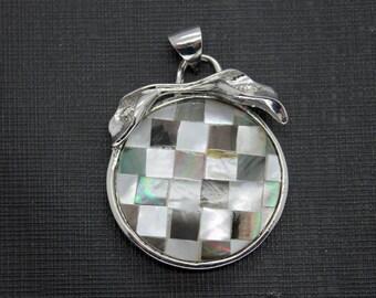 Black White Mosaic Round Pendant, Checkerboard Pendant