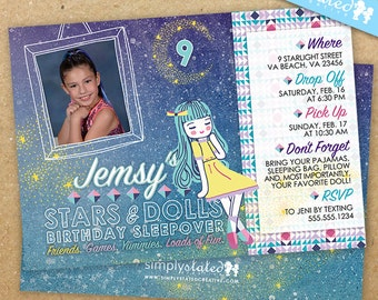 Slumber Party Birthday Invitation, Doll Party, Sleepover Invite, Pajama Party - DiY Printable, Backer Included || Stars + Dolls Sleepover