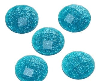 10 Resin Cyan Transparent Glitter Faceted Dome 8mm