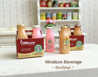 Miniature Beverage Drinks Take-Away Cafe Coffee for 1/8 scale ~ 1/6 scale Dolls Fake Food DIY Craft Food Jewelry