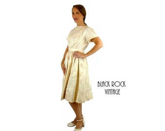 Ivory Dress, Floral Brocade, Vintage 1950s, Size Small OOAK Tea Length Wedding Dress