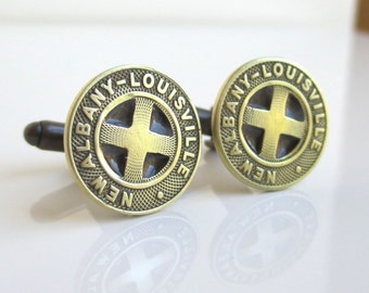 New Albany / Louisville Transit Token Cuff Links - Gold, Vintage Repurposed Coins