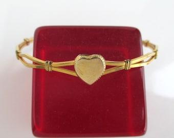 12K Gold Filled Bangle Bracelet - Vintage w/ Adjustable Slide, Heart Design