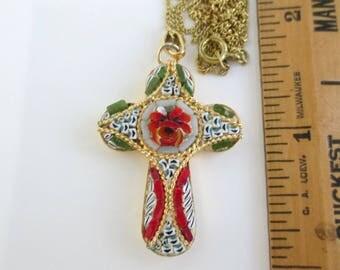 Micro Mosaic Cross Pendant Necklace - Vintage Italy Micromosaic
