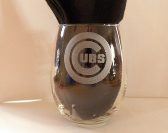 Set of four CUBS or mix and match Stemless 21oz Wine Glass