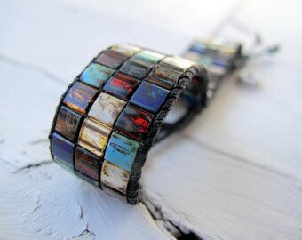 Thick Bohemian Cuff Bracelet, Miyuki Tila Glass Bracelet, Southwestern Colors Wristband, Vegetarian Friendly Jewelry