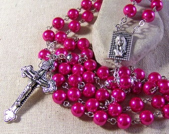 Catholic rosary handmade with hot pink pearls in silver