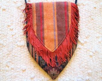 Small Boho Gypsy Hippie Fringe Cross Body Bag