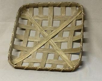 """12 1/2""""  Square Tobacco Basket, Small Replica, Hand Woven, Walnut Stain"""