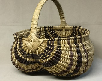 Large, Round Hand Woven Egg Basket with Brown Accent Weaving, Wrapped Handle
