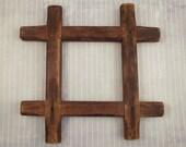 Vintage Primitive Wood Lap Joint Frame, Rustic Wall Hanging, Crude Wooden Display Frame, Cabin Decor