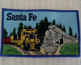 """HUGE Vintage 5"""" Sew On Santa Fe Railroad Patch, Atchison Topeka Santa Fe Railway, Freight Passenger Locomotive, Train Collectible, AT and SF"""