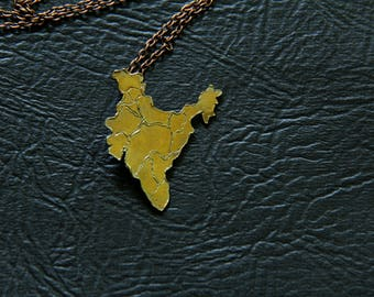 BR1000 - MAP INDIA, BRONZE, Hand-made, Pendant