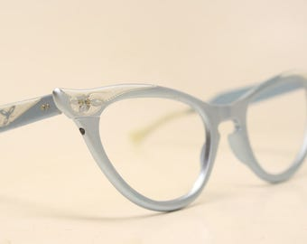 Unused Blue Aluminum cat eye glasses  vintage cateye eyeglasses frames