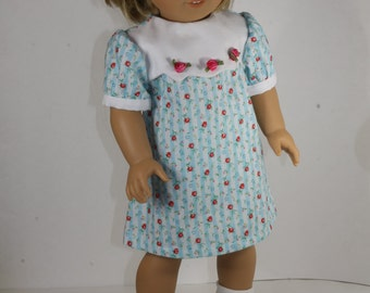 A-line Dress with Baby Rosebuds for American Girl or other 18 inch Doll