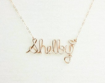 Stunning! Rose Gold Name Necklace, Custom Name Necklace, Personalized Name Necklace, Bridesmaid Necklace, Personalized Name Jewelry Gifts
