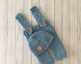 Newborn pants set, crochet newborn suspenders, newborn photo prop, crochet pants and hat, newborn photo prop, grey hat and pant set
