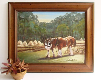 Draught Horse, Oil Painting, Farm Painting, Draft Horse, Sowing Crops, Signed Original Painting, Framed Painting, Gum Trees, Oil on Canvas
